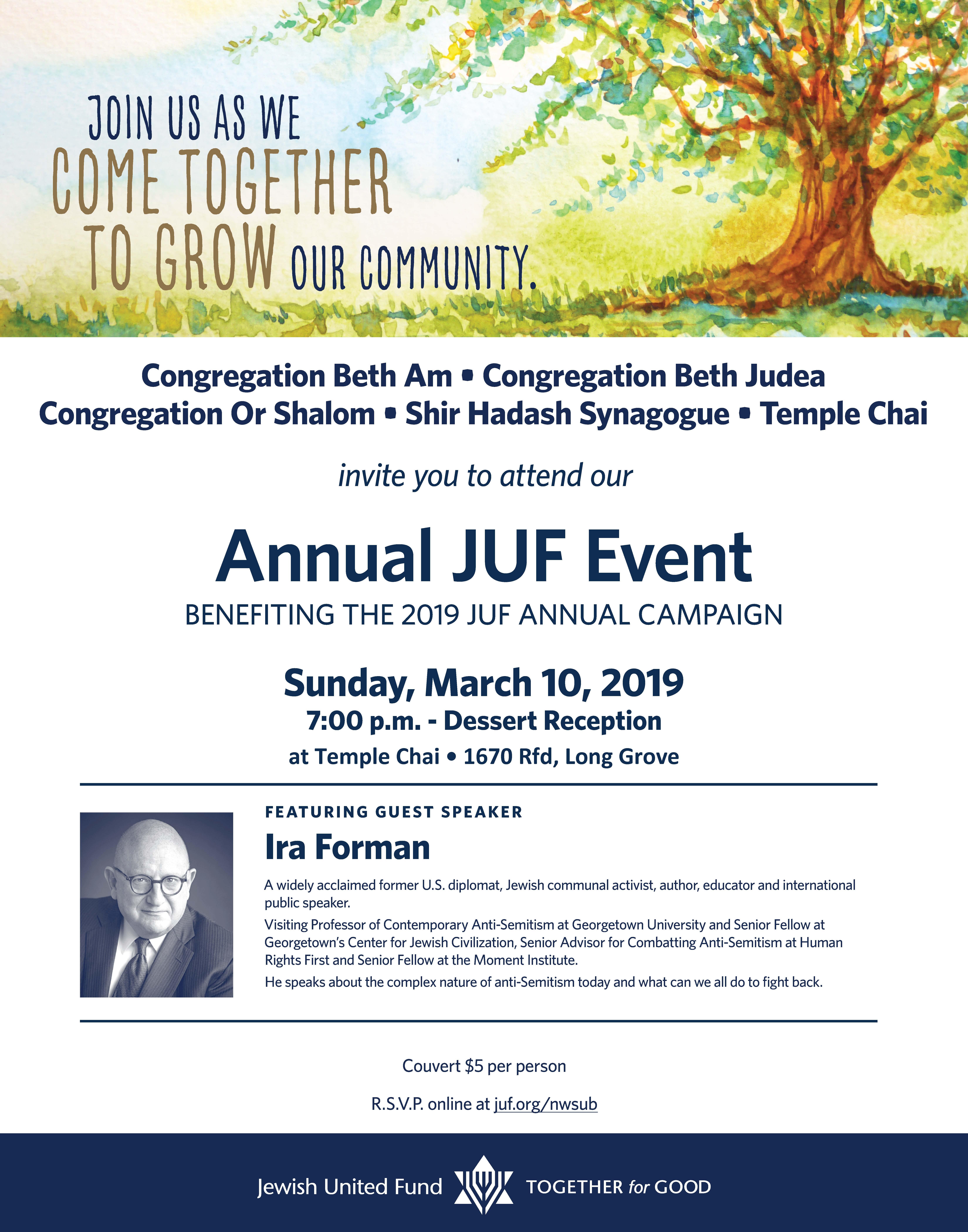 Annual JUF Event 2019 (March 10th) – Temple Chai